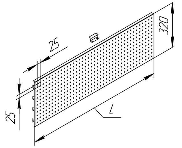 Задняя перфорированная панель полочного стеллажа с навесными элементами