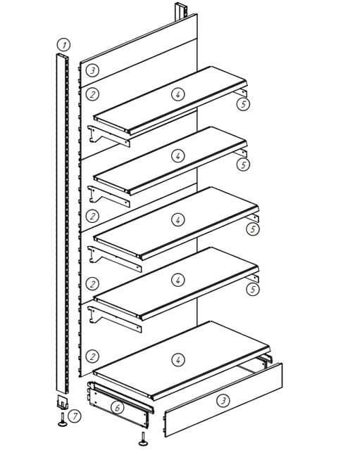 Схема торгового стеллажа - основные элементы