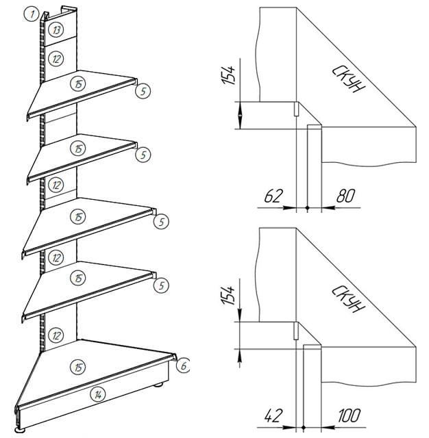Схема углового наружного торгового стеллажа