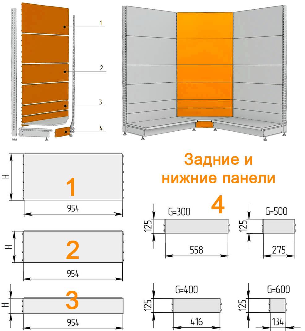 Схема углового внутреннего стеллажа для магазина