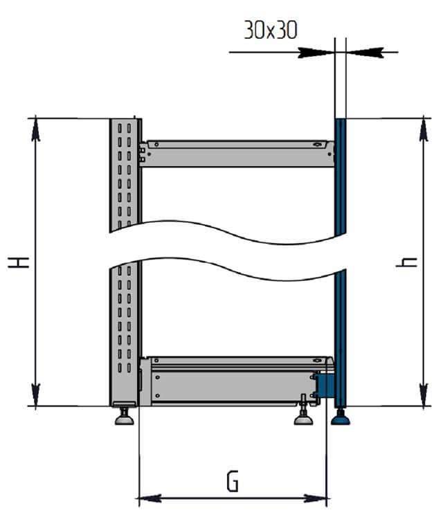 Схема стеллажа с передней стойкой