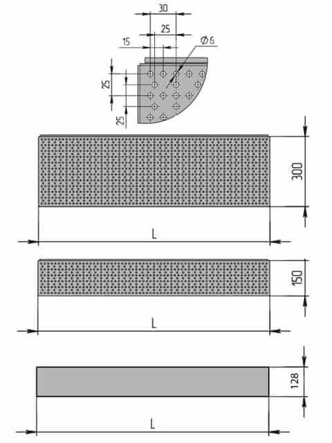 Схема линейного универсального торгового стеллажа с перфорацией. Панели